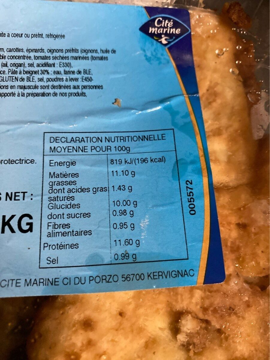 Panaché de poisson facon fish&chips - Informations nutritionnelles