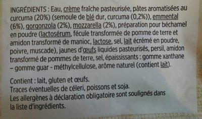 Preparation pâtes 3 fromages - Ingredients