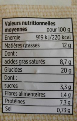 Preparation pâtes 3 fromages - Nutrition facts