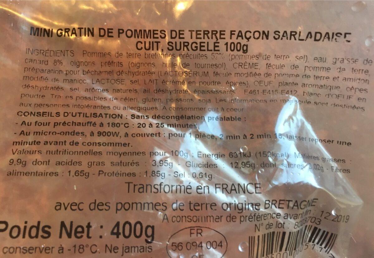 Mini gratin de pomme de terre façon salardaise - Ingrédients - fr