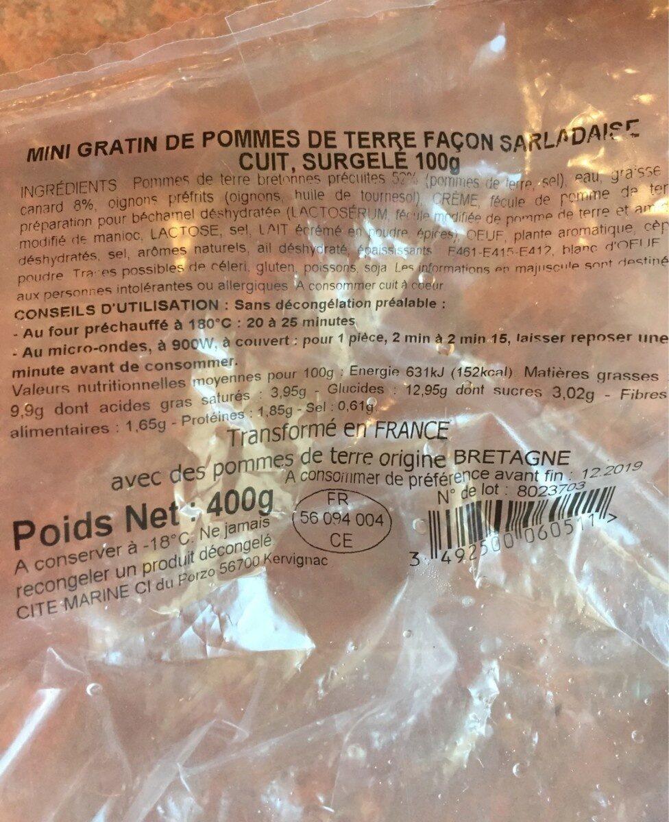 Mini gratin de pomme de terre façon salardaise - Informations nutritionnelles - fr