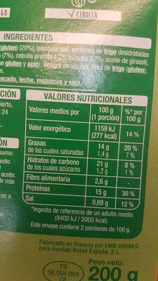 Nuggets de trigo y cebolla - Informations nutritionnelles