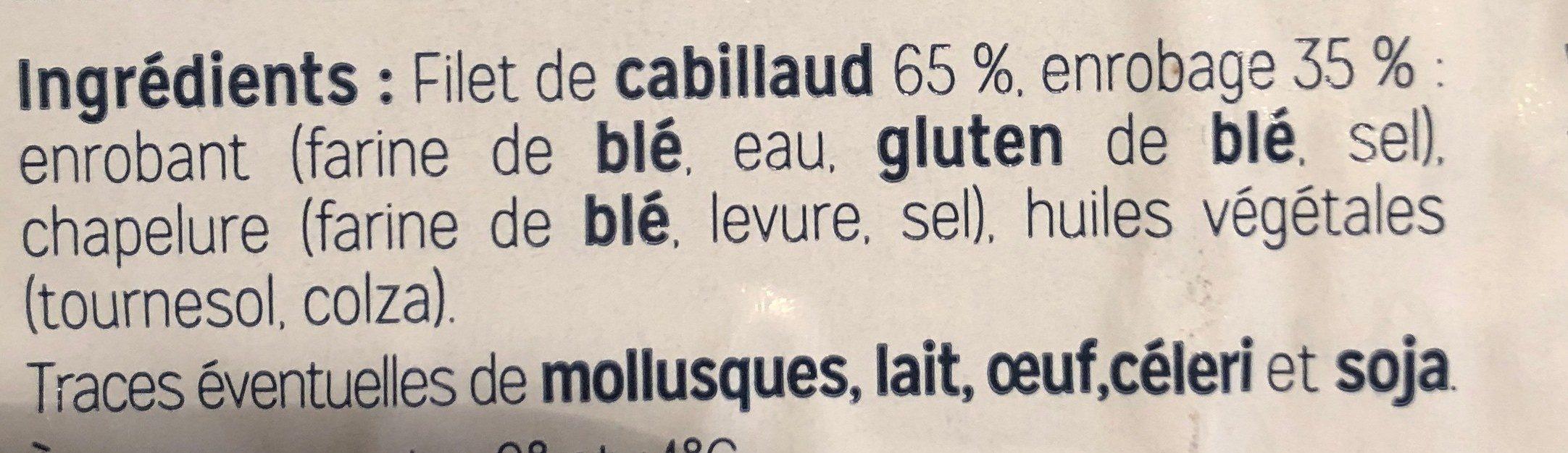 Aiguillettes de Cabillaud Panées - Ingredients