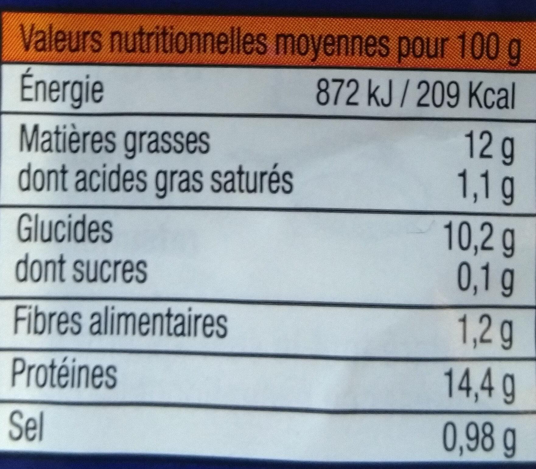 lieu façon fish & chips - Nutrition facts