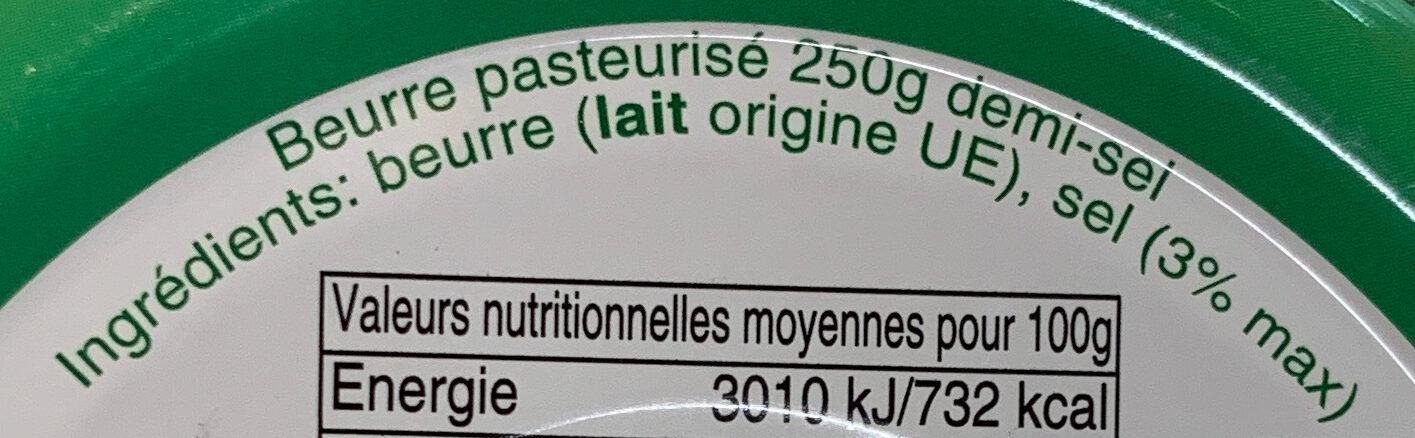 Beurre gastronomique demi-sel - Ingrédients - fr