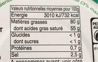 Beurre gastronomique SOVACO - Informations nutritionnelles - fr