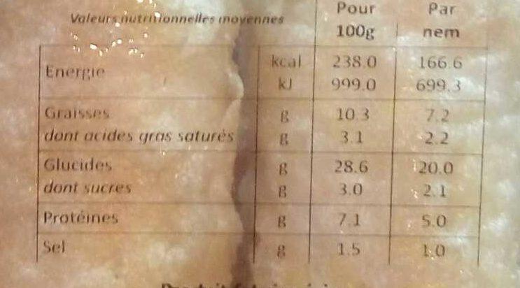 4 nems à la crevette - Informations nutritionnelles - fr