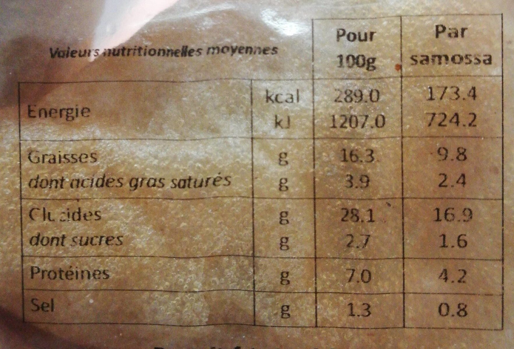 Le Cantonnais Samossas la barquette de 4 240 g - Informations nutritionnelles - fr