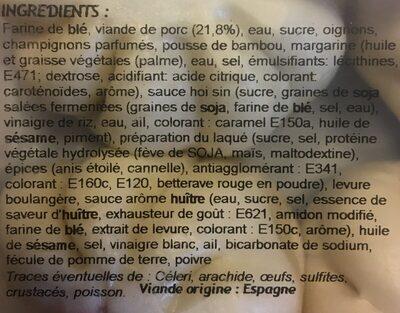 Banh Bao au Porc Laqué - Ingrédients