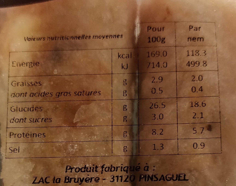 Nems au poulet - Informations nutritionnelles - fr