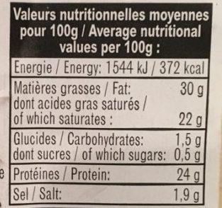Cantal Jeune - Informations nutritionnelles