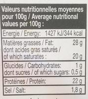 Tomme des Pyrénées - Informations nutritionnelles