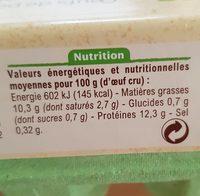 Oeufs de poules élevées plein air - Nutrition facts