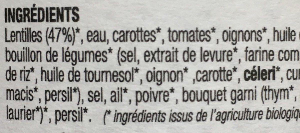 Lentilles Mijotées - Ingrédients