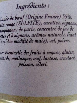 Daube de Boeuf marinée au vin rouge - Ingrédients