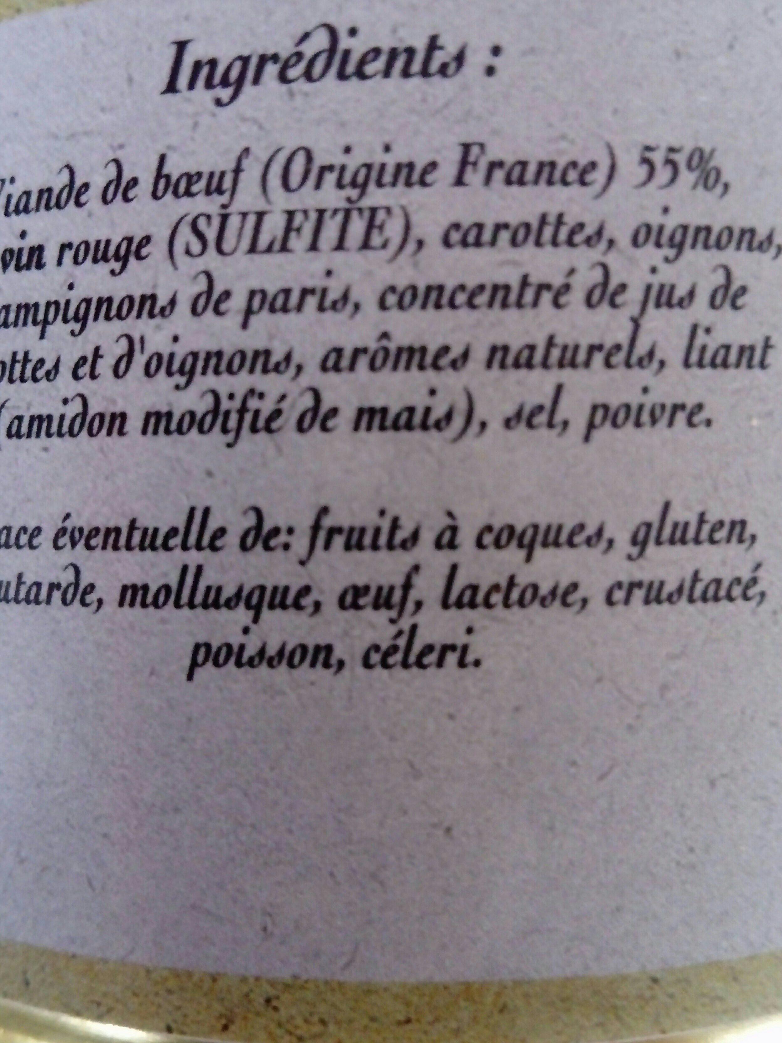 Daube de Boeuf marinée au vin rouge - Ingrédients - fr