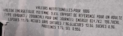 Aligot à la tome fraîche - Informations nutritionnelles