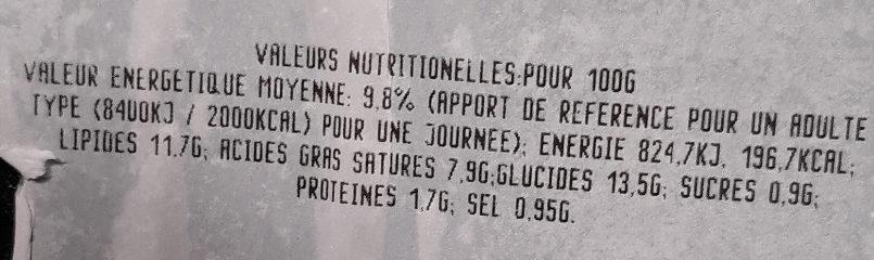 Aligot à la tome fraîche - Informations nutritionnelles - fr