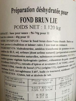 Fond Brun Lie - Składniki