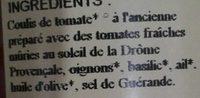 Sauce Tomate Provençale - Ingredients - fr