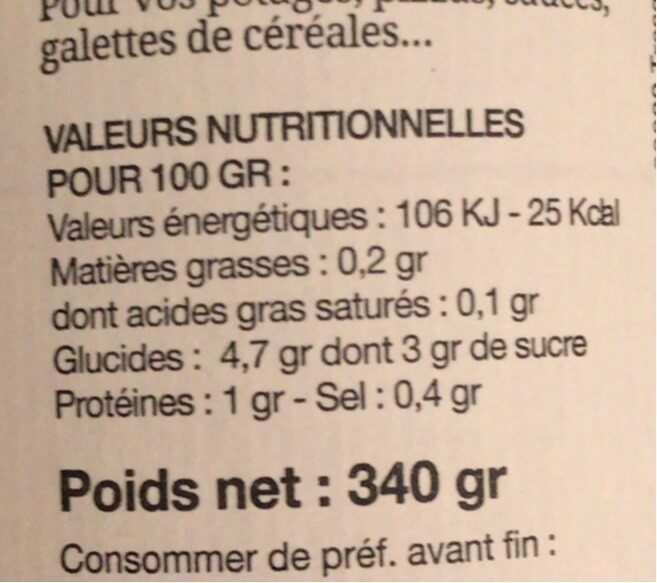 Sauce Tomate Provençale - Nutrition facts - fr