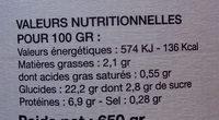 Pois chiches au naturel - Informations nutritionnelles - fr