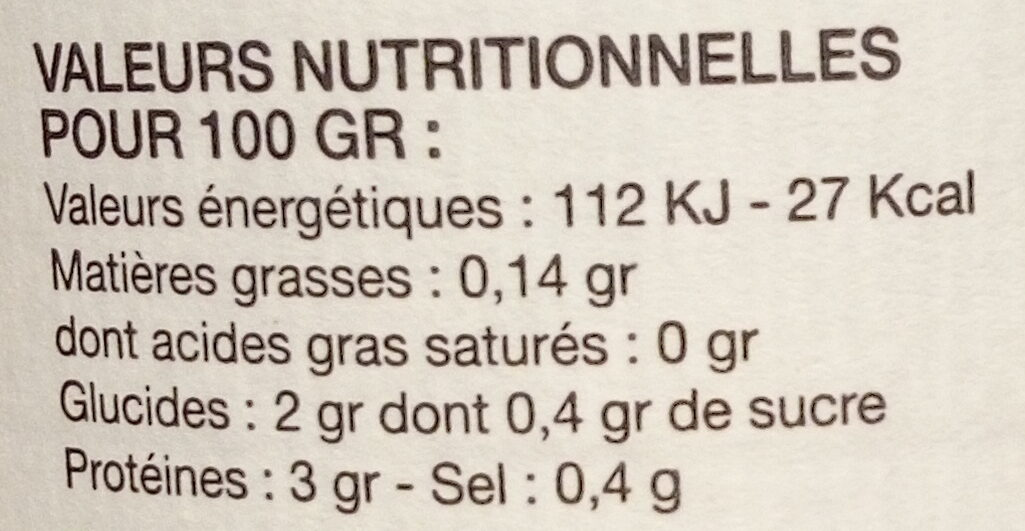 Epinards - Informations nutritionnelles - fr