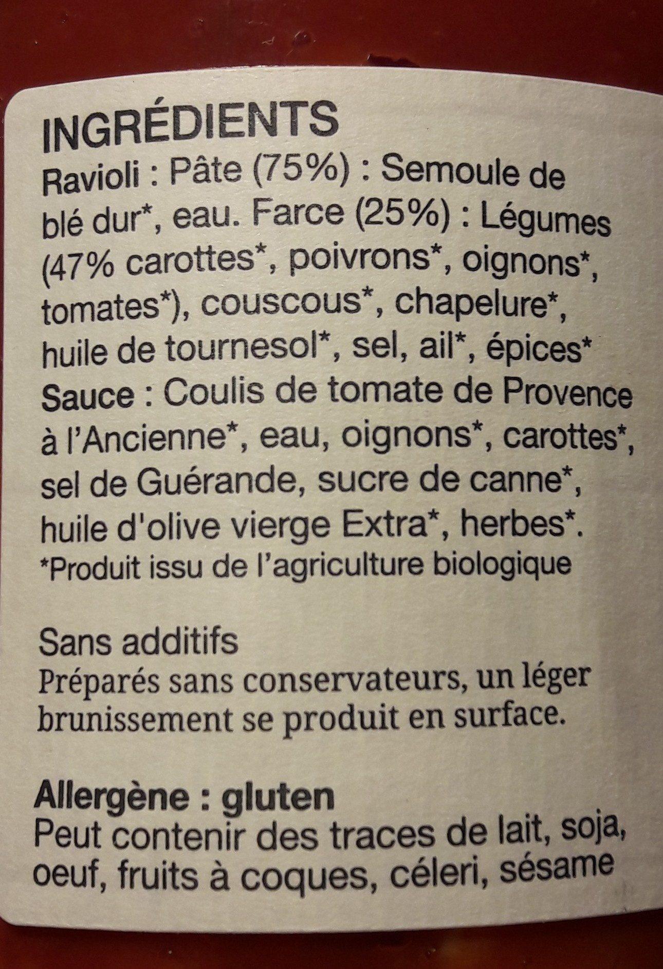 650G Ravioli Recette Vegetale - Ingrédients - fr