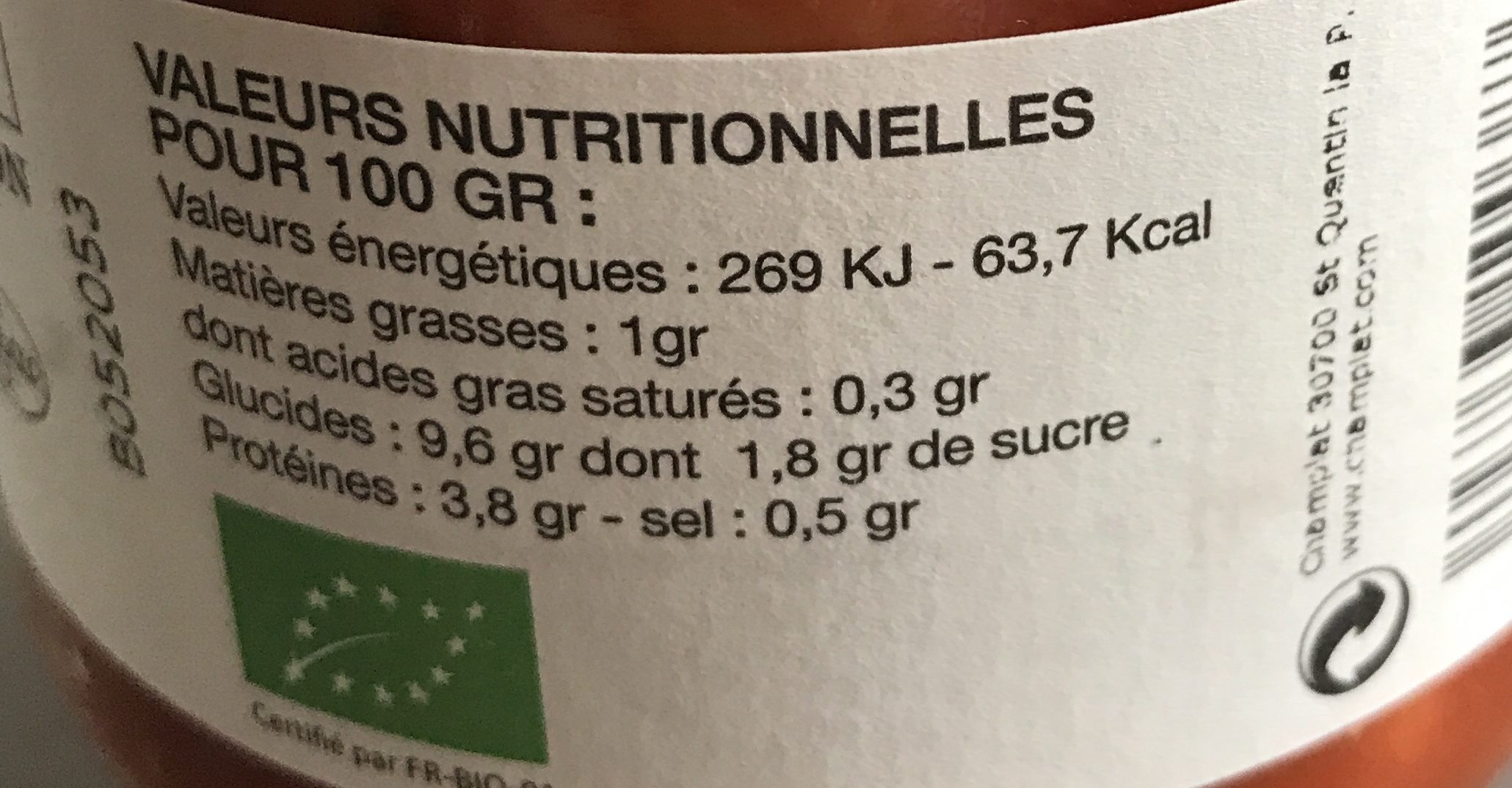 Ravioli au Bœuf Bio - Nutrition facts - fr