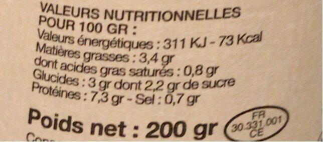 200G Sauce Bolognaise a La Volaille - Informations nutritionnelles - fr
