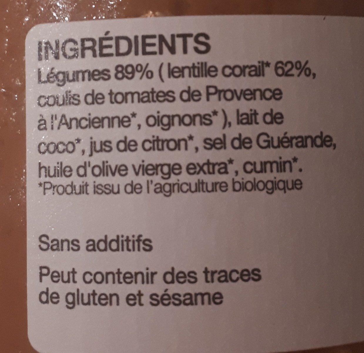 Soupe lentilles corail - Ingredients