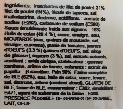 Sandwich Poulet Américain - Ingrediënten - fr