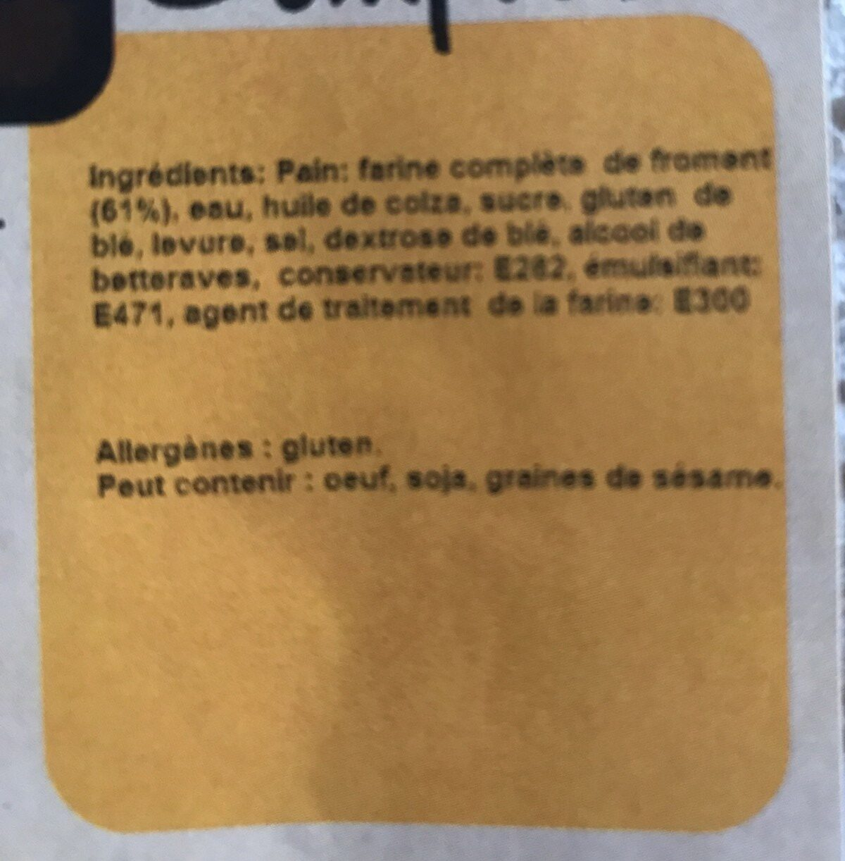 Pain de mie complet - Ingredienti - fr