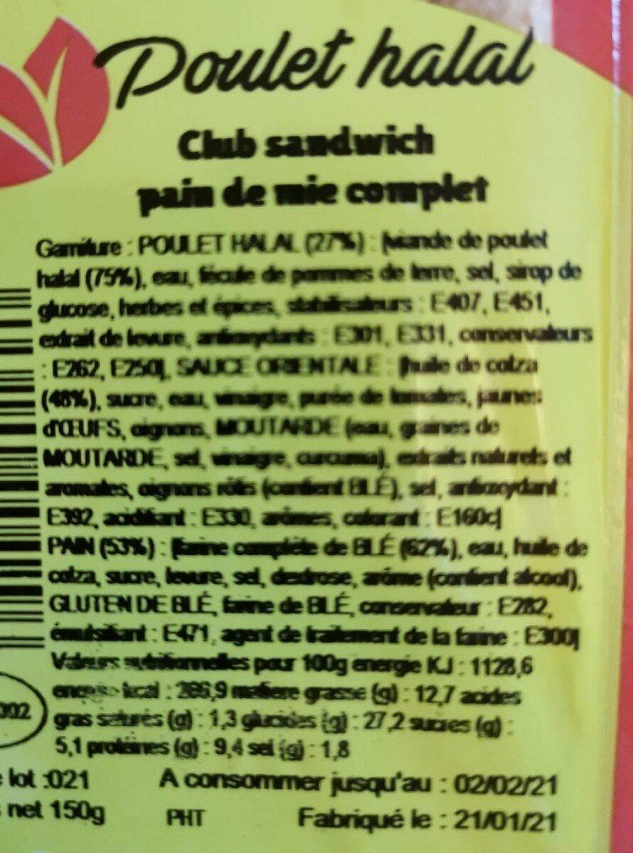 Sandwich poulet halal - Voedingswaarden - fr