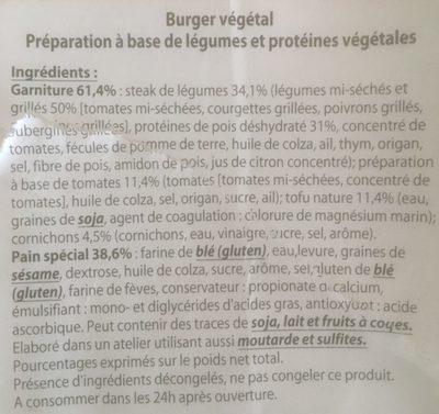 Burger Le végétarien - Ingrédients - fr