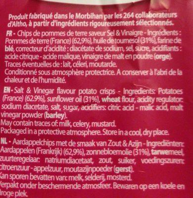 Chips saveur Sel & Vinaigre - Ingrédients