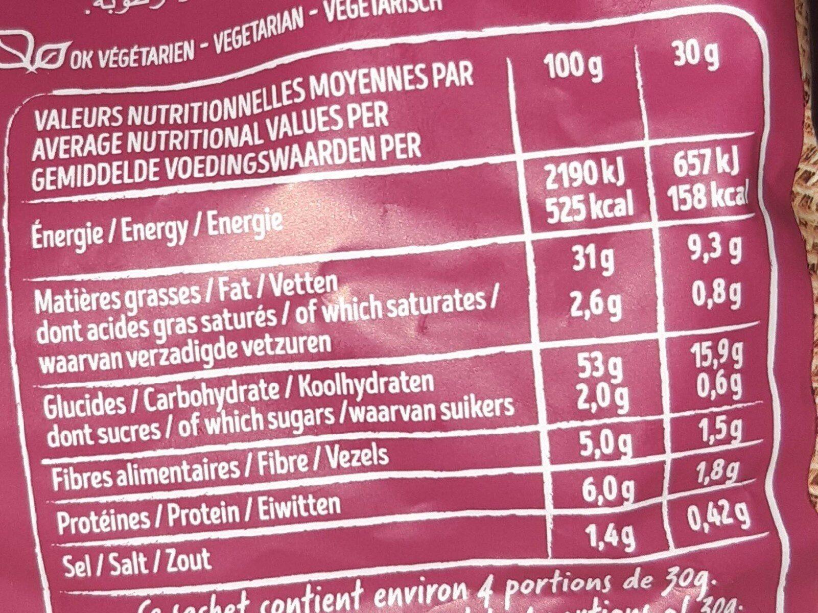 Chips saveur Sel & Vinaigre - Voedingswaarden - fr