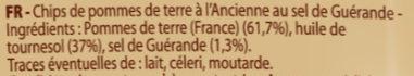 Chips de pommes de terre recette à l'ancienne - Ingrédients - fr