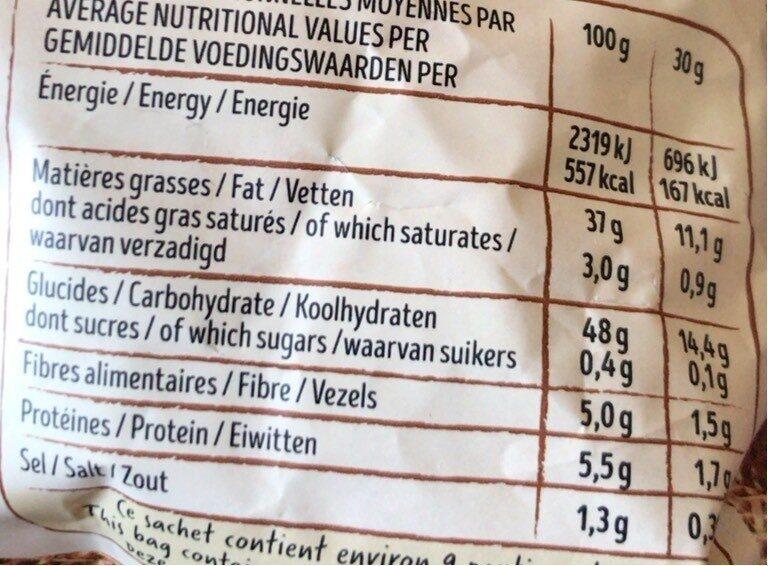 Chips de pommes de terre recette à l'ancienne - Informations nutritionnelles - fr