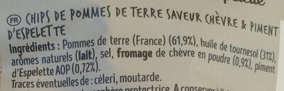 Chips - Ingrédients - fr