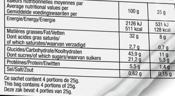 Chips de légumes Pomme de terre, Carotte, Betterave - Informations nutritionnelles