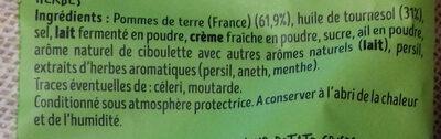 Chips saveur Fromage frais fines herbes - Ingrédients - fr
