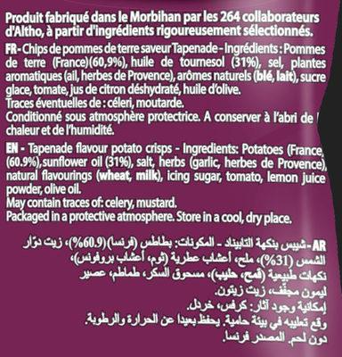 Chips de pomme de terre saveur Tapenade - Ingrédients - fr