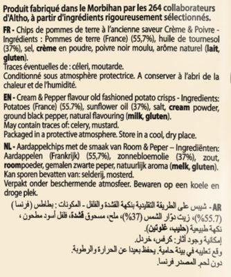 Recette à l'ancienne saveur Crème & Poivre - Ingrédients - fr