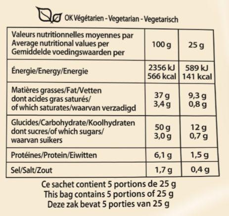 Recette à l'ancienne saveur Crème & Poivre - Informations nutritionnelles - fr