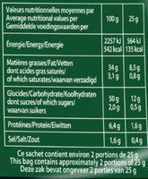 Chips de pommes de terre au Comté - Informations nutritionnelles - fr