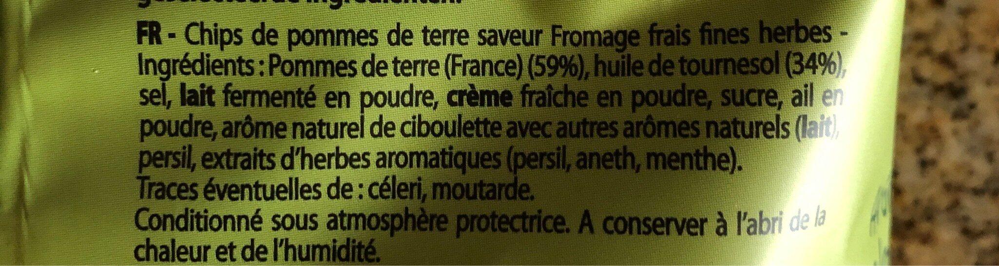 Chips saveur fromage frais aux fines herbes - Ingrediënten