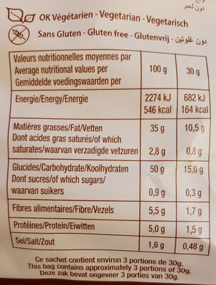 La Chips Bio 100% Thym Romarin - Valori nutrizionali - fr