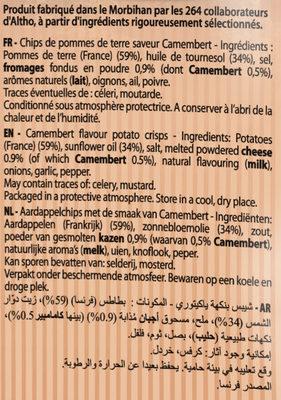 Chips camembert Bret's - Inhaltsstoffe
