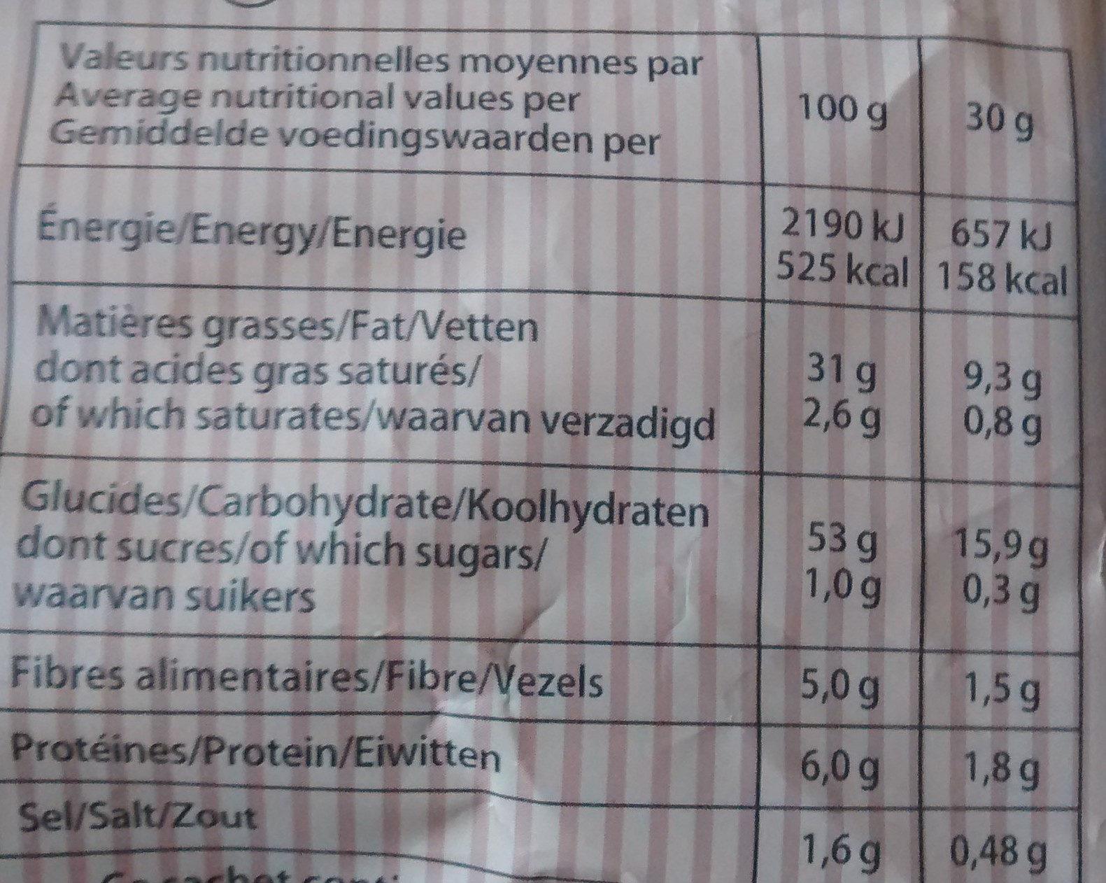 Chips camembert Bret's - Nährwertangaben